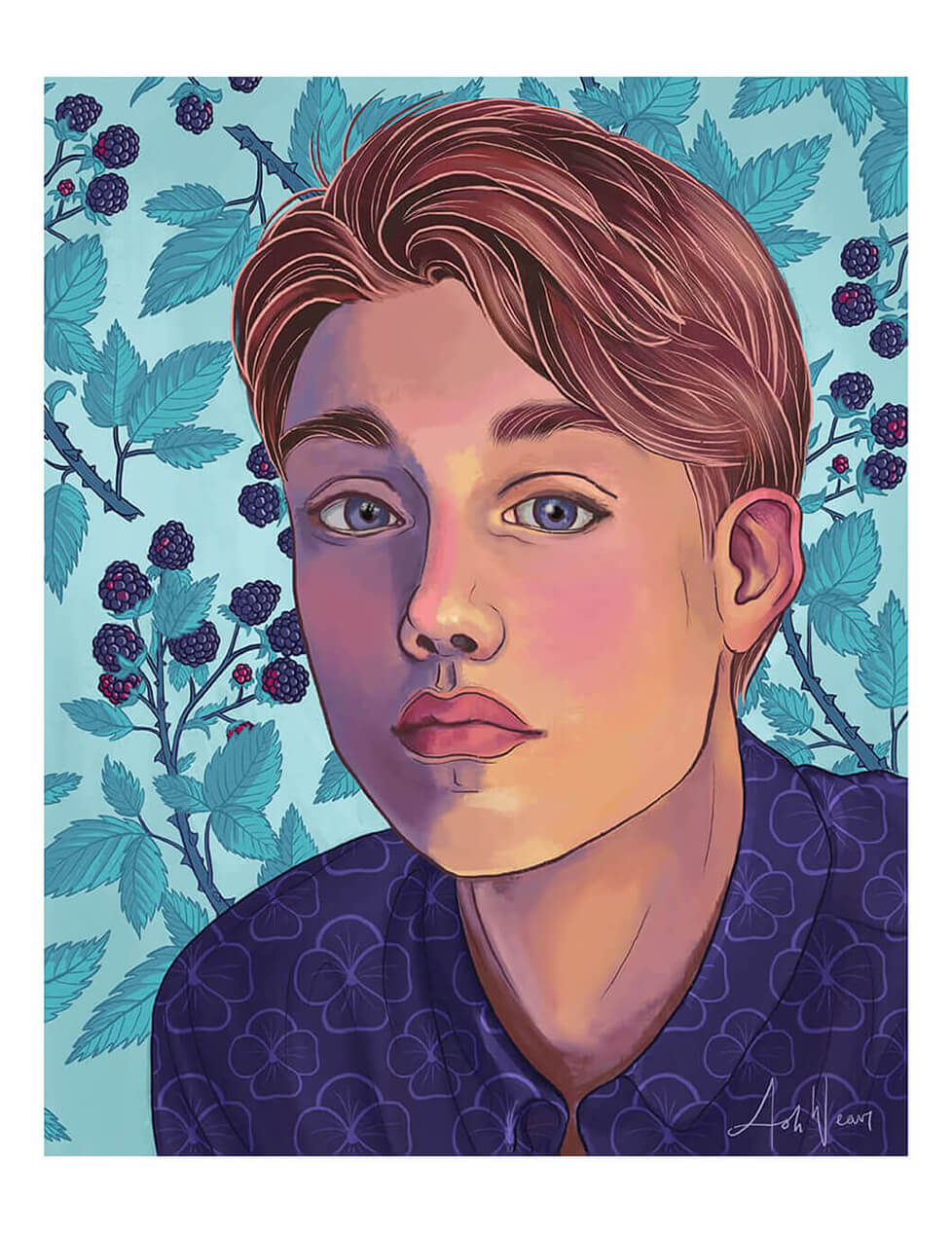 Portrait illustration of a boy with a teal blackberry pattern